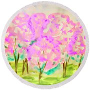 Hand Painted Picture, Spring Garden Round Beach Towel