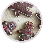 Handmade Decorated Gingerbread People Lying On Wooden Table Round Beach Towel