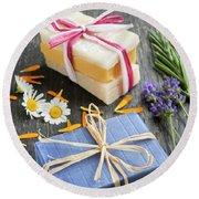 Handmade Soaps With Herbs Round Beach Towel