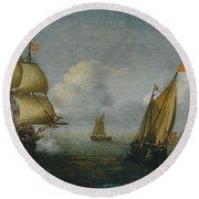 Hans Goderis Dutch Shipping At Sea, 1615 Round Beach Towel