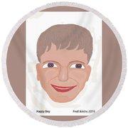 Happy Boy Round Beach Towel