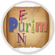 Happy Joyous Purim  Round Beach Towel