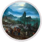 Harbour Scene With Christ Preaching Round Beach Towel