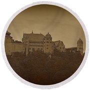 Harburg Castle - Digital Round Beach Towel