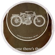 Harley Davidson Model 10b 1914 For Some There's Therapy, For The Rest Of Us There's Motorcycles Round Beach Towel