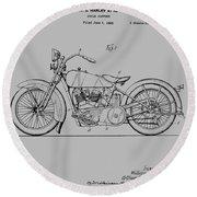 Harley Davidson Motorcycle Patent 1925 Round Beach Towel