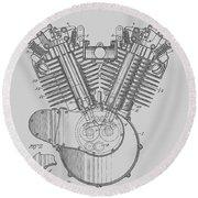 Harley Engine Patent From 1919 Round Beach Towel