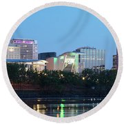 Hartford Skyline Panorama Round Beach Towel