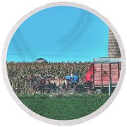 Harvest In Amish Country - Elkhart County, Indiana Round Beach Towel