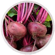 Harvested Organic Beets Round Beach Towel