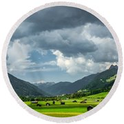 Hay Barns In Oberinntal, Pettneu Am Arlberg Round Beach Towel