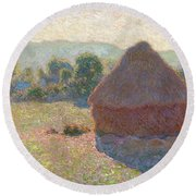Haystacks, Midday Round Beach Towel