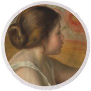 Head Of A Young Girl Round Beach Towel