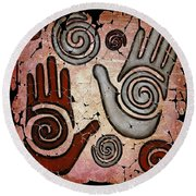Healing Hands Fresco Round Beach Towel