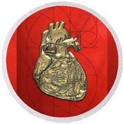 Heart Of Gold - Golden Human Heart On Red Canvas Round Beach Towel by Serge Averbukh