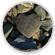 Heart Shaped Stone Loch Fyne  Round Beach Towel