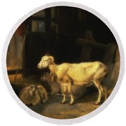 Heath Ewe And Lambs Round Beach Towel