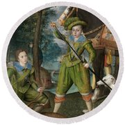 Henry Frederick Prince Of Wales With Sir John Harington In The Hunting Field Round Beach Towel