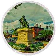 Henry Wadsworth Longfellow Monument - Portland, Maine Round Beach Towel