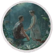 Hermia And Lysander Round Beach Towel