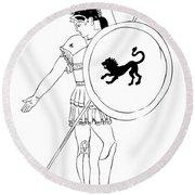 hero - warrior of ancient Greece Round Beach Towel