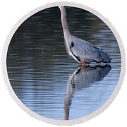 Heron Reflection Round Beach Towel