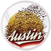 Congress Avenue Bridge Bats Take Flight In Austin Texas Round Beach Towel