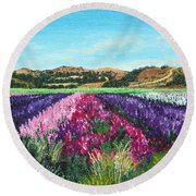 Highway 246 Flowers 3 Round Beach Towel