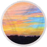 Hill Country Sunrise Round Beach Towel