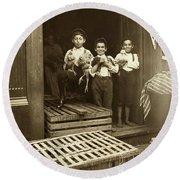 Hine: Child Labor, 1908 Round Beach Towel