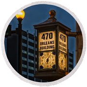Historic Clock - Beaumont Texas Round Beach Towel