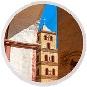 Historic Stone Bell Tower Round Beach Towel