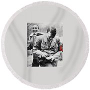 Hitler And Goebbels As The German Chancellor Signs An Autograph Round Beach Towel