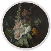 Hollyhocks And Other Flowers In A Vase Round Beach Towel