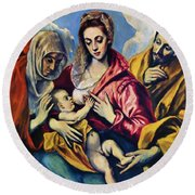 Holy Family With St Anne Round Beach Towel