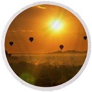 Holy Temple And Hot Air Balloons At Sunrise Round Beach Towel by Pradeep Raja PRINTS