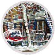Achetez Les Meilleurs Peintures De Scenes De Montreal En Hiver Winter Scene Paintings Round Beach Towel