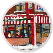 Original Montreal Paintings For Sale Peintures A Vendre Restaurant La Quebecoise Deli Round Beach Towel