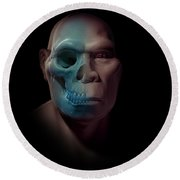 Homo Erectus With Skull Round Beach Towel