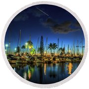 Honolulu Harbor By Night Round Beach Towel