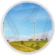 Horizontal Axis Wind Turbines. Panorama Round Beach Towel
