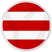 Horizontal White Outside Stripes 02-p0169 Round Beach Towel