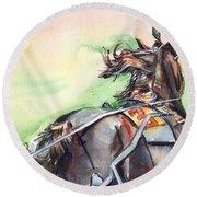 Horse Art In Watercolor Round Beach Towel
