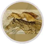 Horse Sketch Round Beach Towel