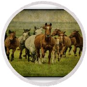 Horses 27 Round Beach Towel