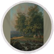 Horses And Cattle By A River Round Beach Towel
