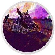 Horses Harmony For Two Animal World  Round Beach Towel