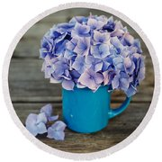 Hortensia Flowers Round Beach Towel