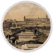 Hospital And Cemetery At Scutari, C.1854 Round Beach Towel