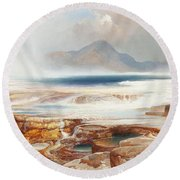 Hot Springs Of The Yellowstone Round Beach Towel